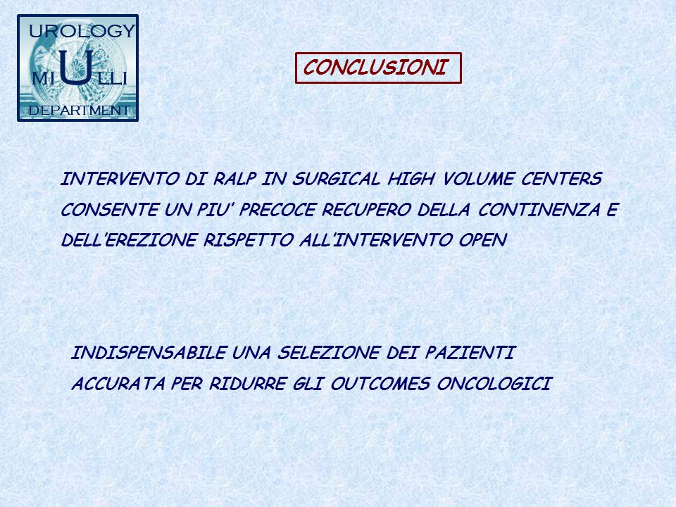 miUlli UROLOGY CONCLUSIONI