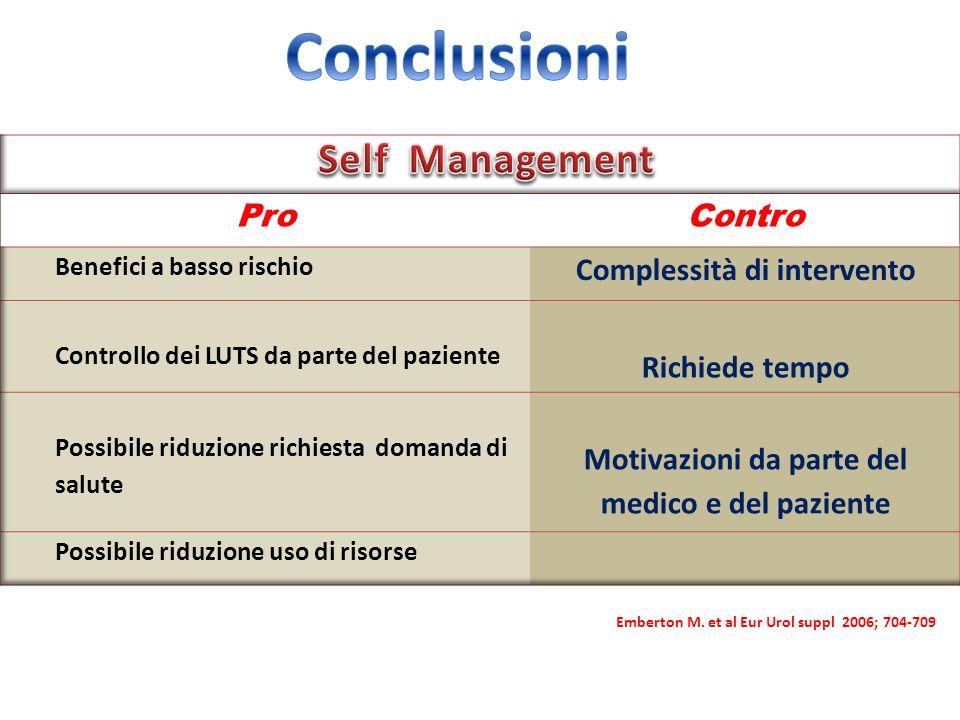 Conclusioni Self Management Pro Contro Complessità di intervento