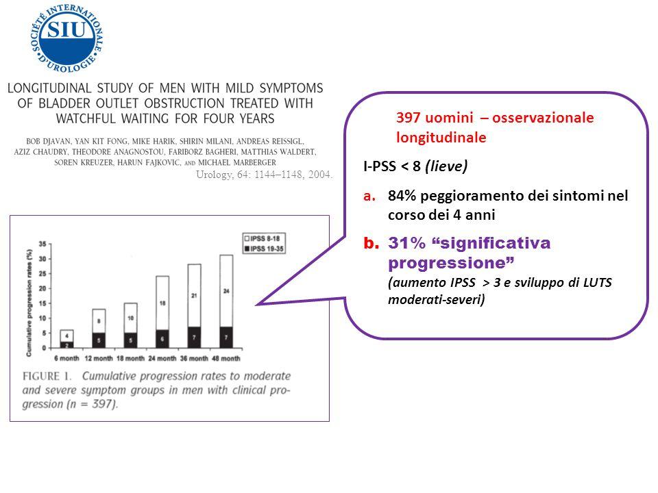397 uomini – osservazionale longitudinale I-PSS < 8 (lieve)