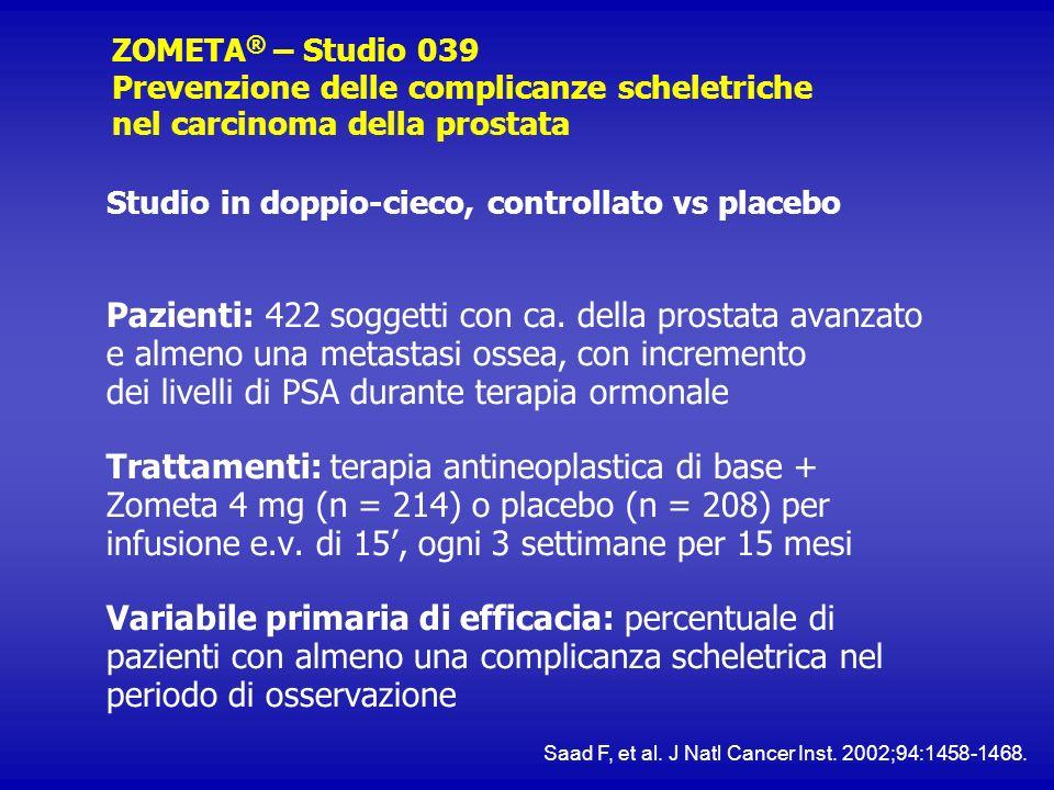 ZOMETA® – Studio 039 Prevenzione delle complicanze scheletriche nel carcinoma della prostata