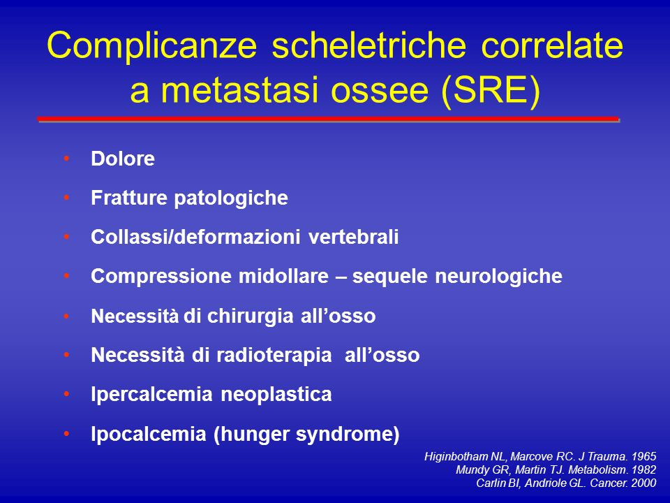 Complicanze scheletriche correlate a metastasi ossee (SRE)