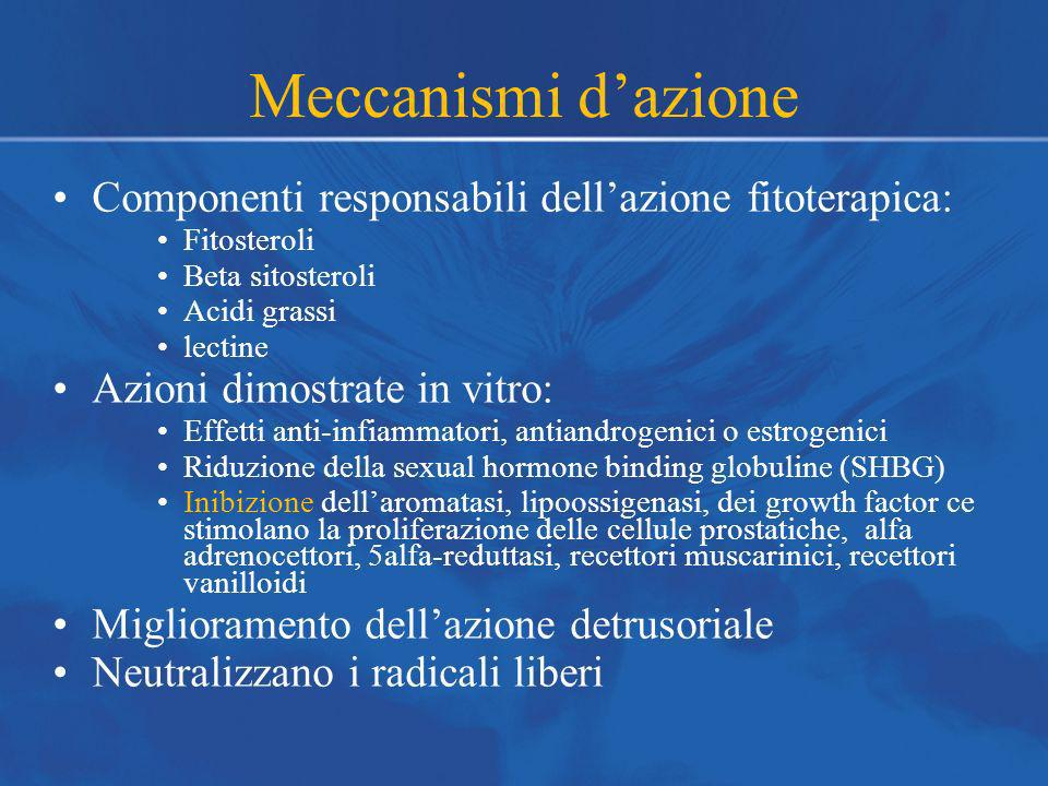 Meccanismi d'azione Componenti responsabili dell'azione fitoterapica: