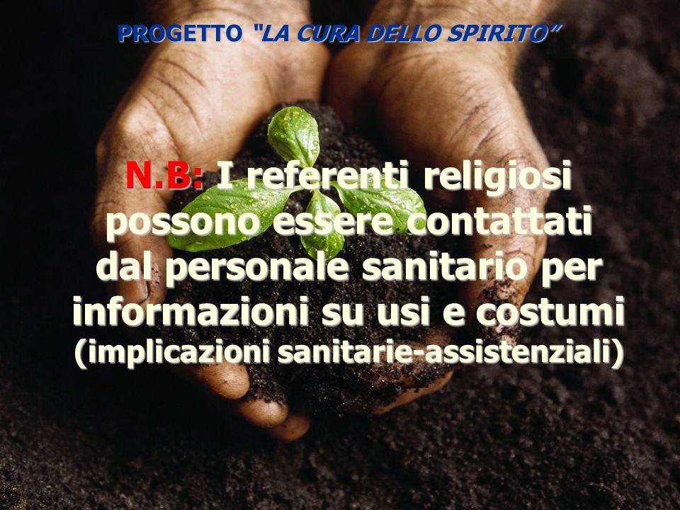 N.B: I referenti religiosi possono essere contattati