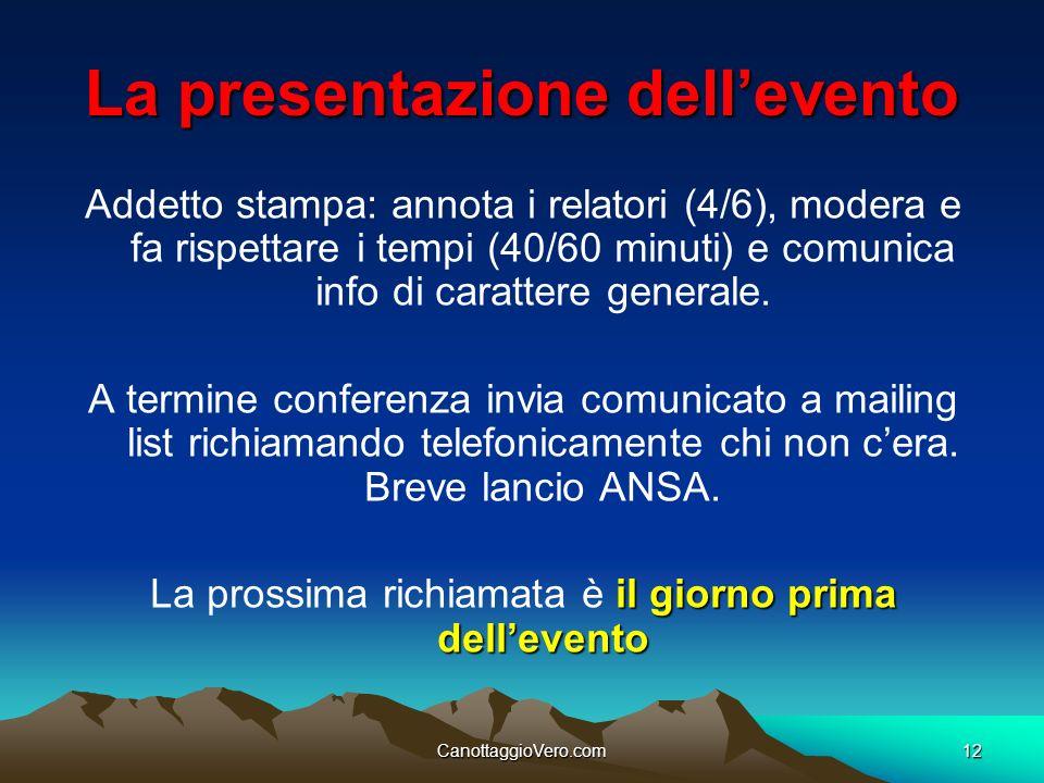 La presentazione dell'evento