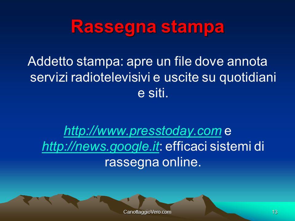 Rassegna stampa Addetto stampa: apre un file dove annota servizi radiotelevisivi e uscite su quotidiani e siti.