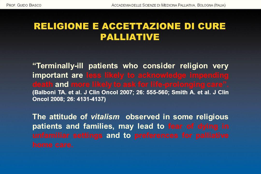 RELIGIONE E ACCETTAZIONE DI CURE PALLIATIVE