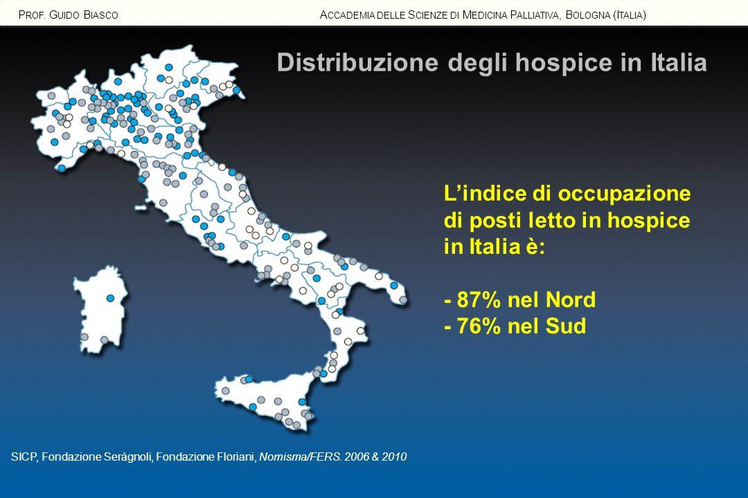 Distribuzione degli hospice in Italia