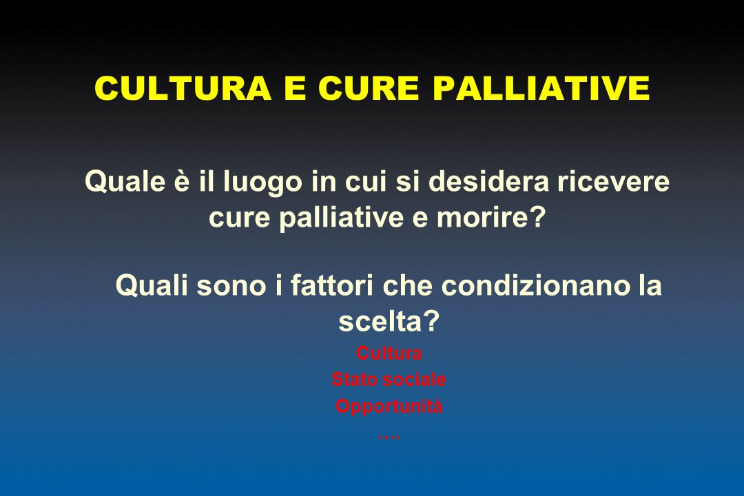CULTURA E CURE PALLIATIVE