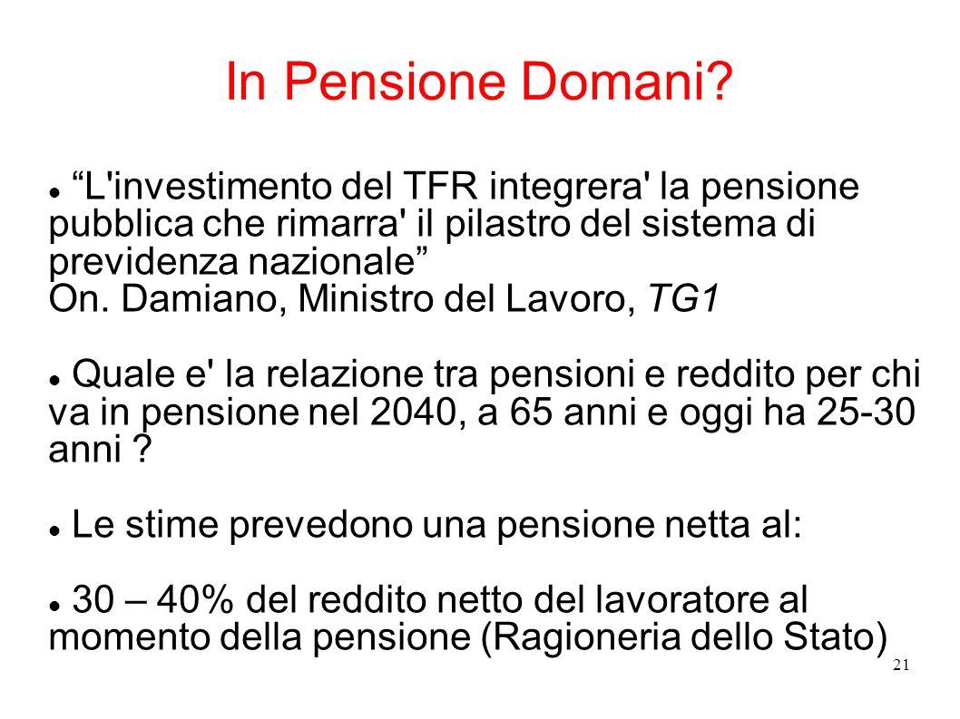 In Pensione Domani L investimento del TFR integrera la pensione pubblica che rimarra il pilastro del sistema di previdenza nazionale