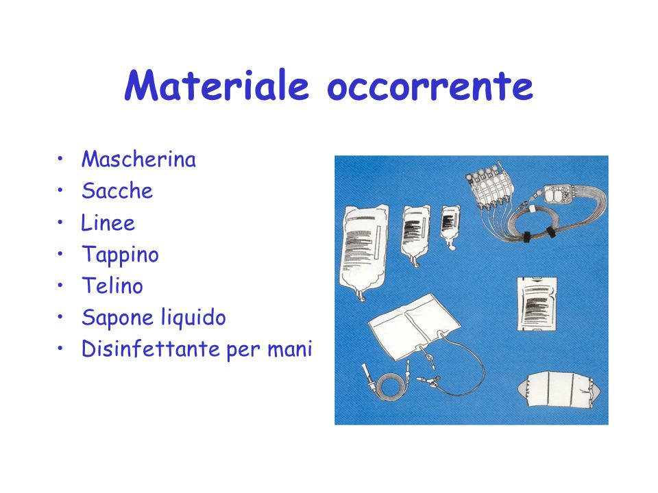 Materiale occorrente Mascherina Sacche Linee Tappino Telino