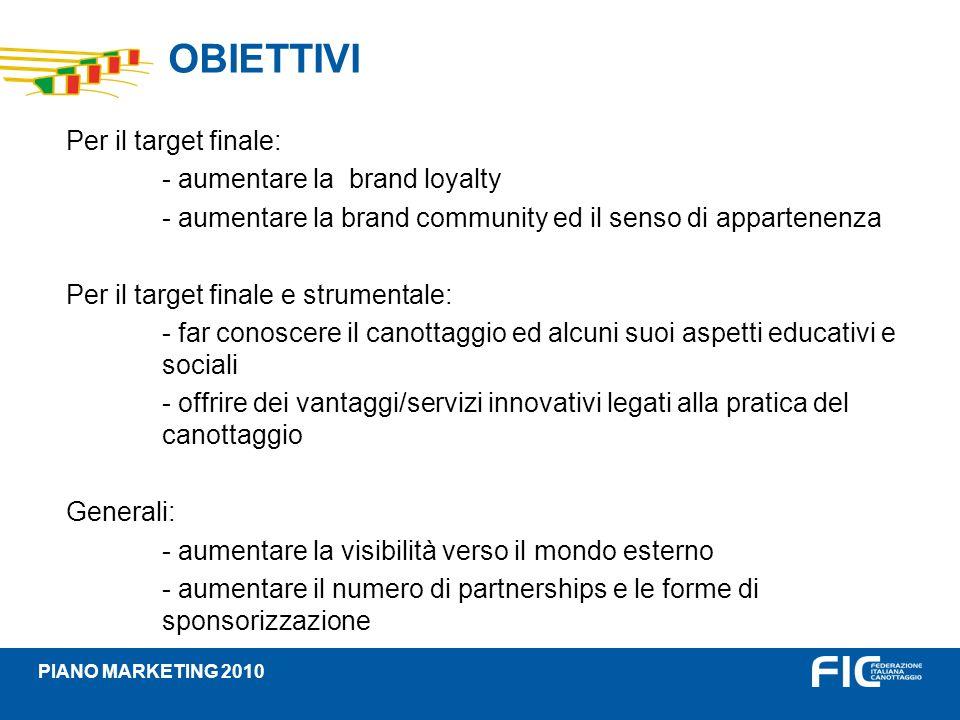 OBIETTIVI Per il target finale: - aumentare la brand loyalty