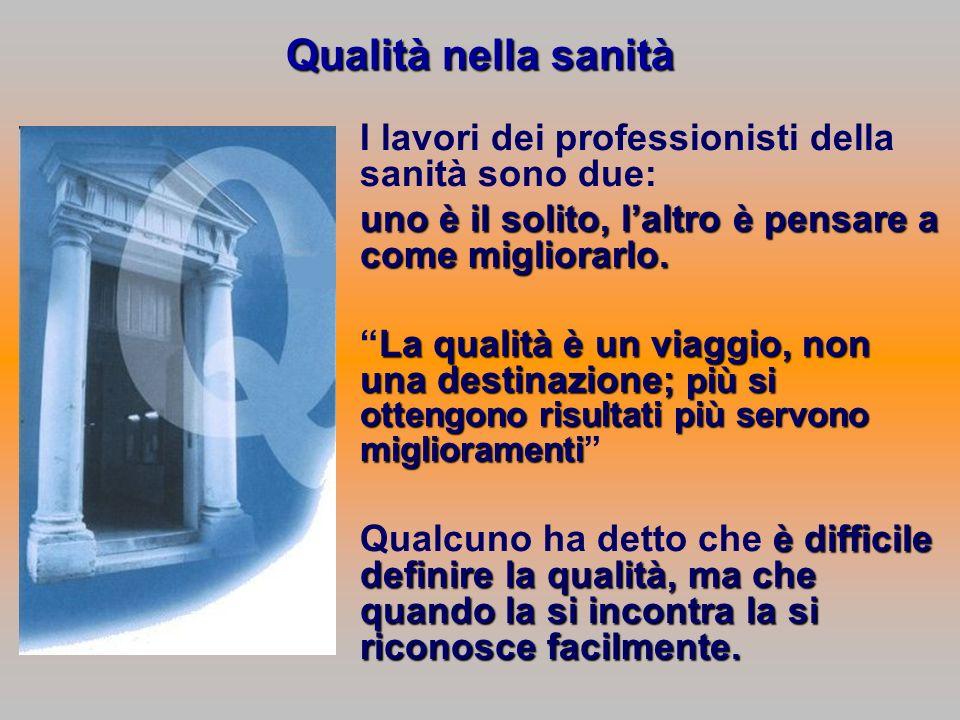 Qualità nella sanità I lavori dei professionisti della sanità sono due: uno è il solito, l'altro è pensare a come migliorarlo.