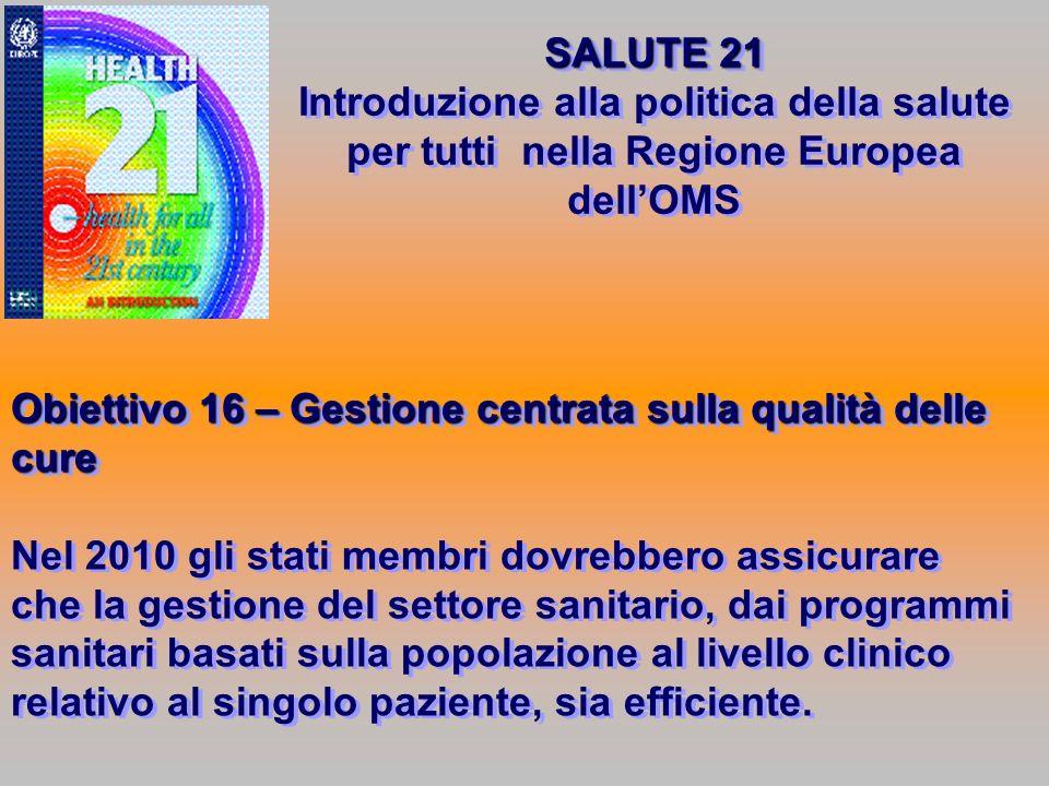 SALUTE 21 Introduzione alla politica della salute per tutti nella Regione Europea dell'OMS.