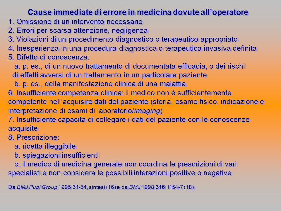 Cause immediate di errore in medicina dovute all'operatore
