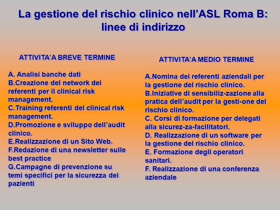 La gestione del rischio clinico nell'ASL Roma B: linee di indirizzo