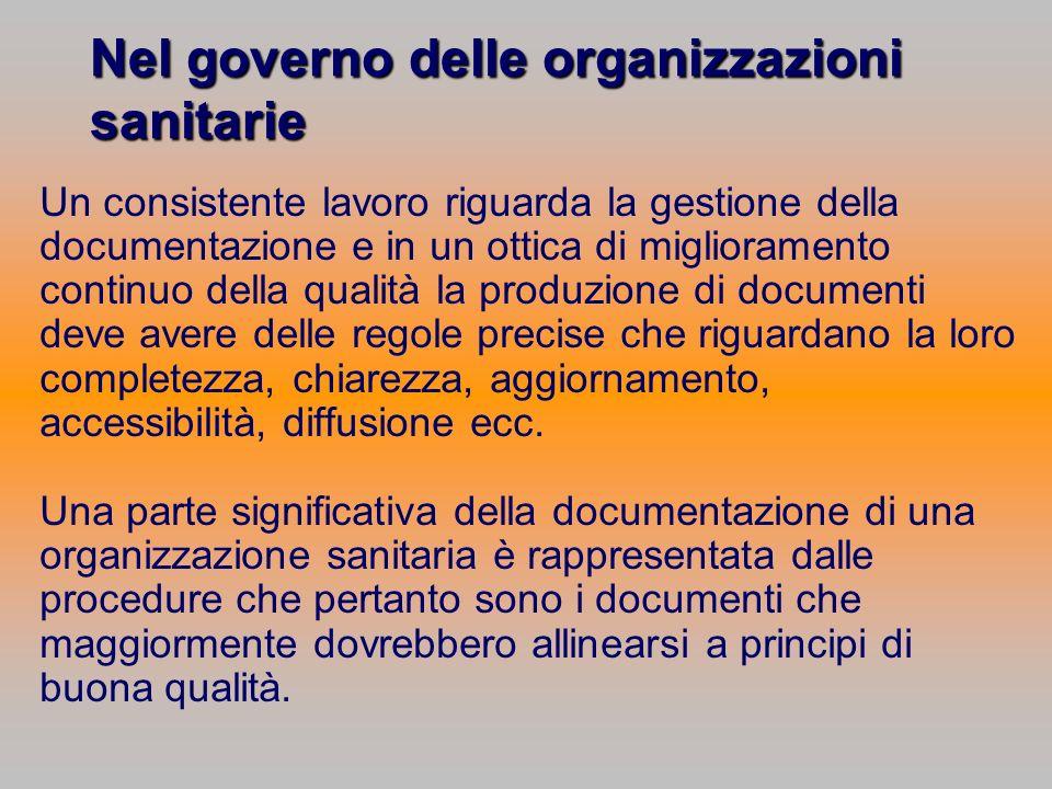 Nel governo delle organizzazioni sanitarie