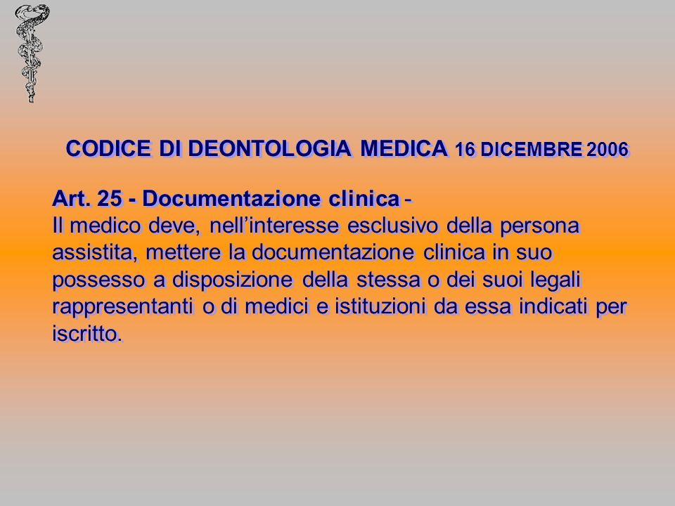 CODICE DI DEONTOLOGIA MEDICA 16 DICEMBRE 2006