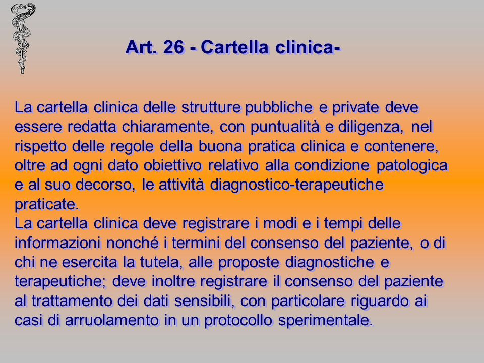 Art. 26 - Cartella clinica-