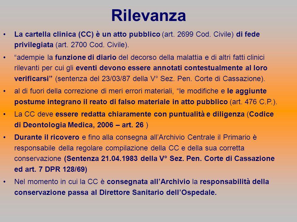 Rilevanza La cartella clinica (CC) è un atto pubblico (art. 2699 Cod. Civile) di fede privilegiata (art. 2700 Cod. Civile).
