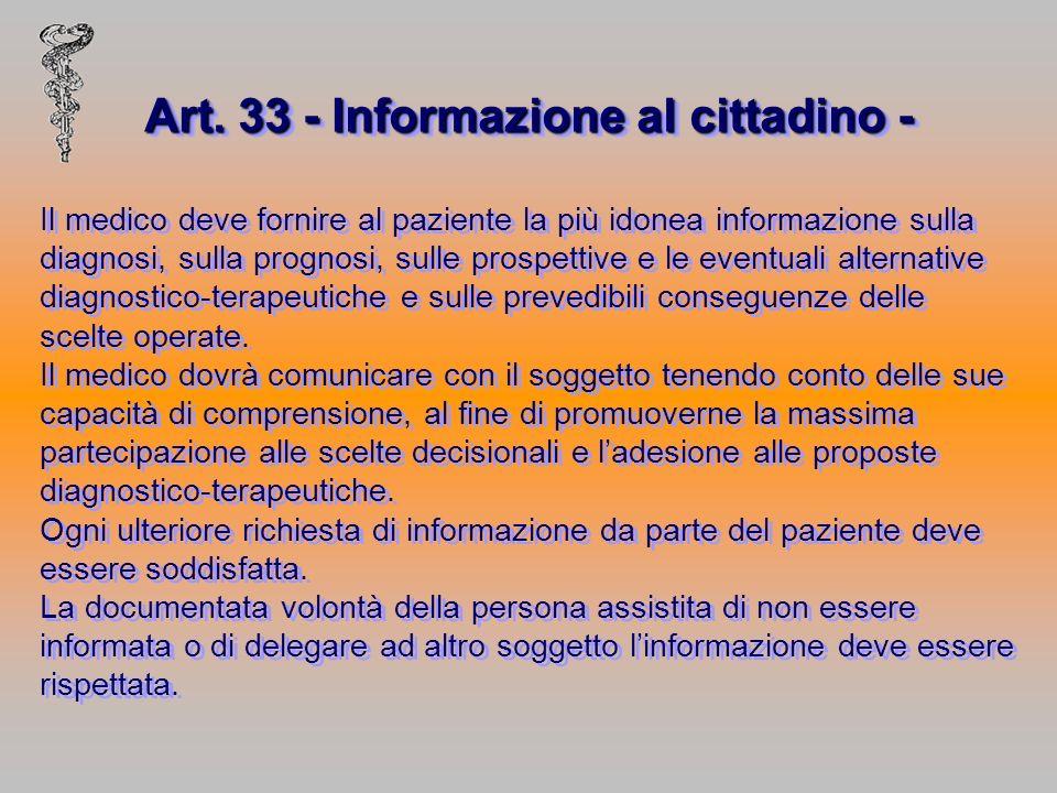Art. 33 - Informazione al cittadino -