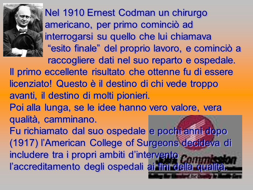 Nel 1910 Ernest Codman un chirurgo