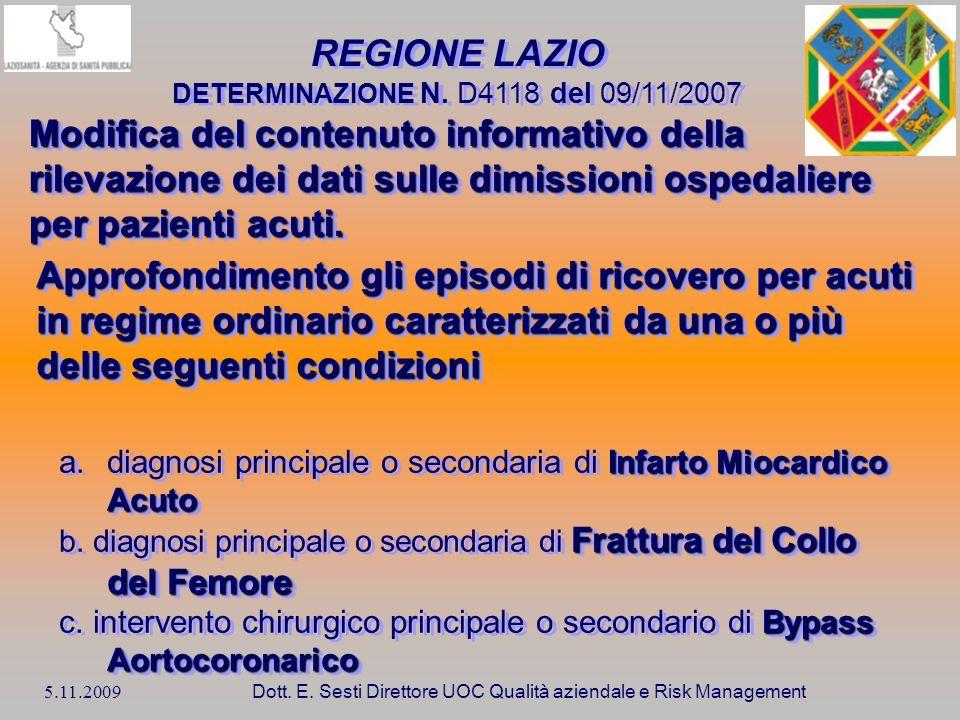 REGIONE LAZIO DETERMINAZIONE N. D4118 del 09/11/2007.