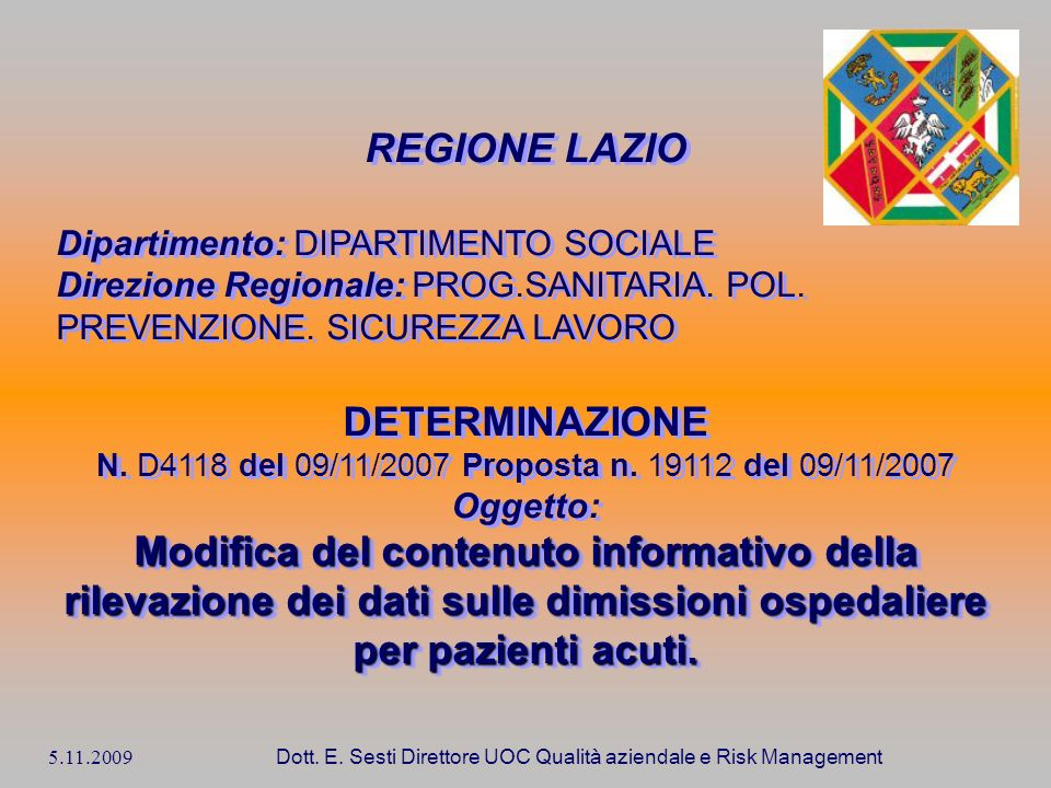 REGIONE LAZIO DETERMINAZIONE