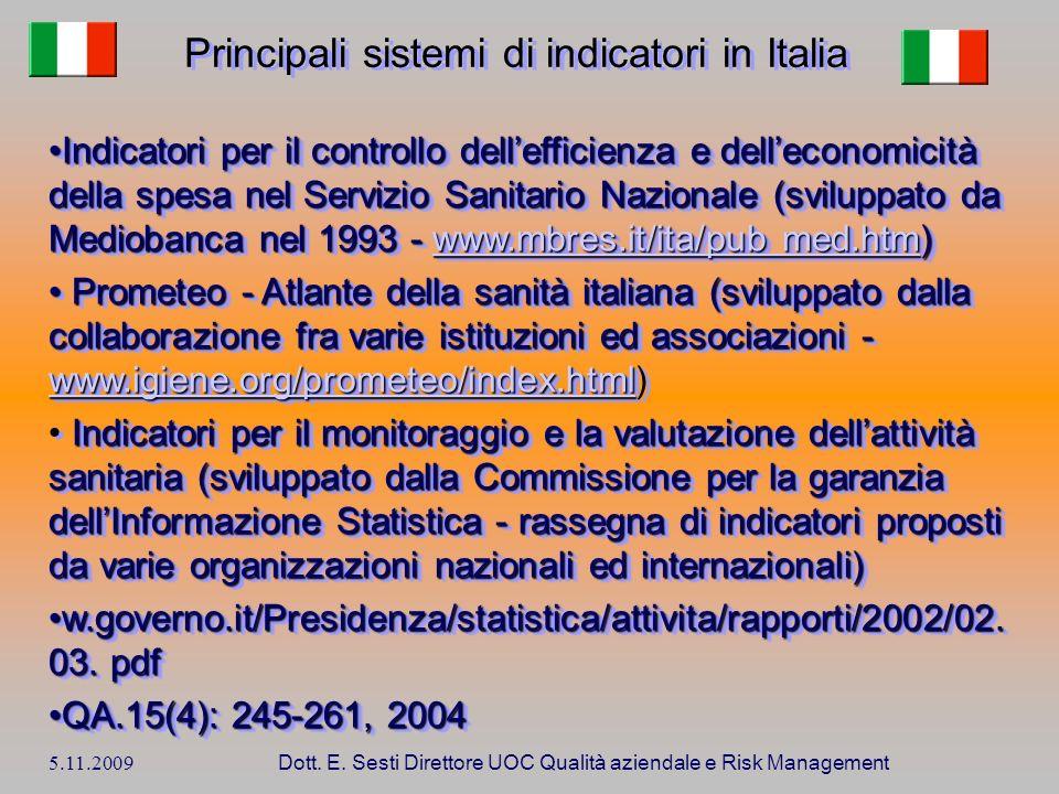 Principali sistemi di indicatori in Italia