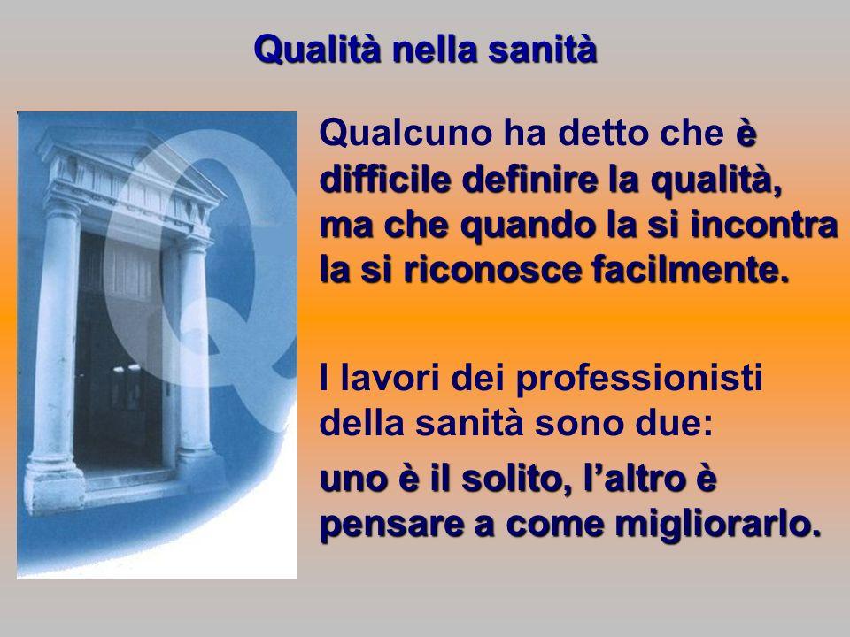 Qualità nella sanità Qualcuno ha detto che è difficile definire la qualità, ma che quando la si incontra la si riconosce facilmente.