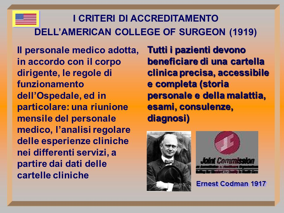 I CRITERI DI ACCREDITAMENTO DELL'AMERICAN COLLEGE OF SURGEON (1919)