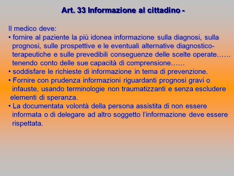 Art. 33 Informazione al cittadino -