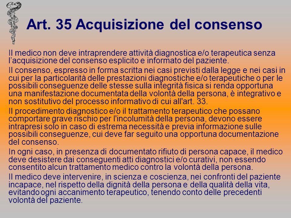 Art. 35 Acquisizione del consenso