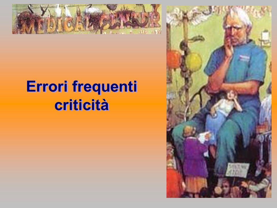 Errori frequenti criticità