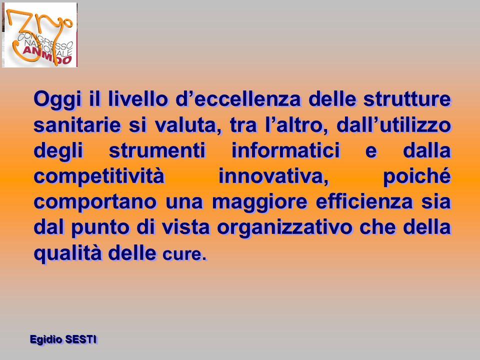 Oggi il livello d'eccellenza delle strutture sanitarie si valuta, tra l'altro, dall'utilizzo degli strumenti informatici e dalla competitività innovativa, poiché comportano una maggiore efficienza sia dal punto di vista organizzativo che della qualità delle cure.