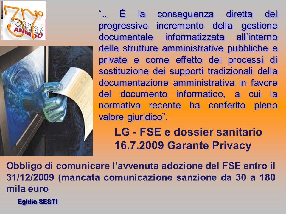 LG - FSE e dossier sanitario 16.7.2009 Garante Privacy
