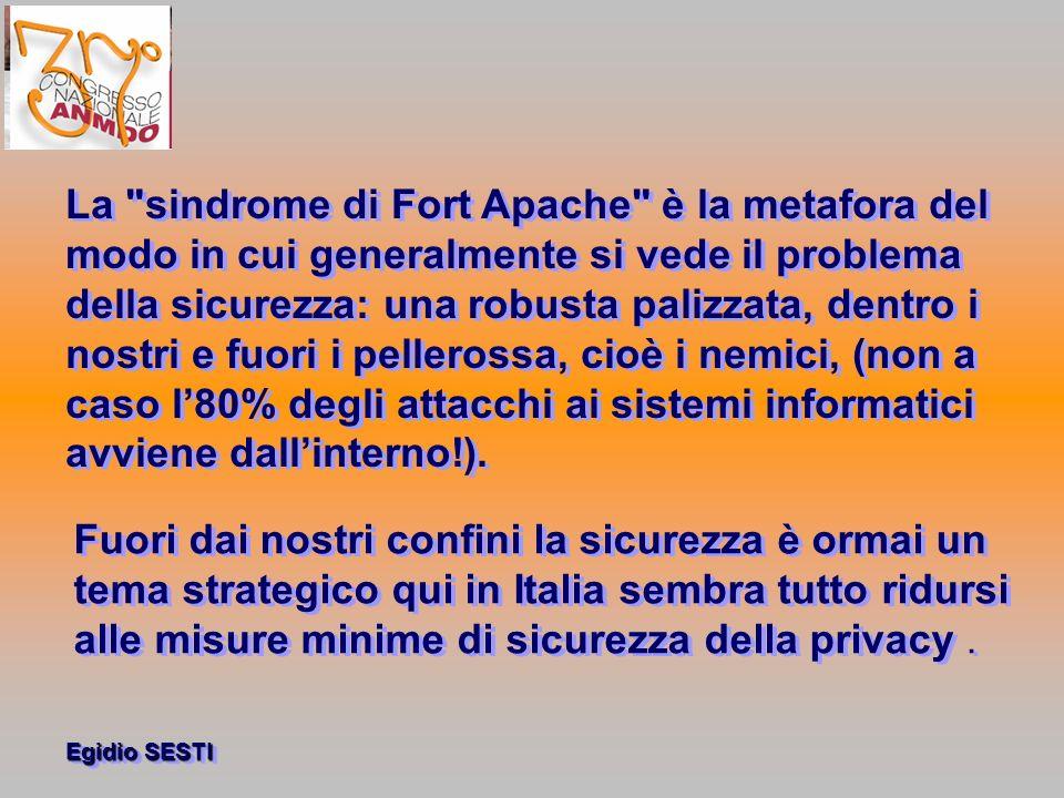 La sindrome di Fort Apache è la metafora del modo in cui generalmente si vede il problema della sicurezza: una robusta palizzata, dentro i nostri e fuori i pellerossa, cioè i nemici, (non a caso l'80% degli attacchi ai sistemi informatici avviene dall'interno!).