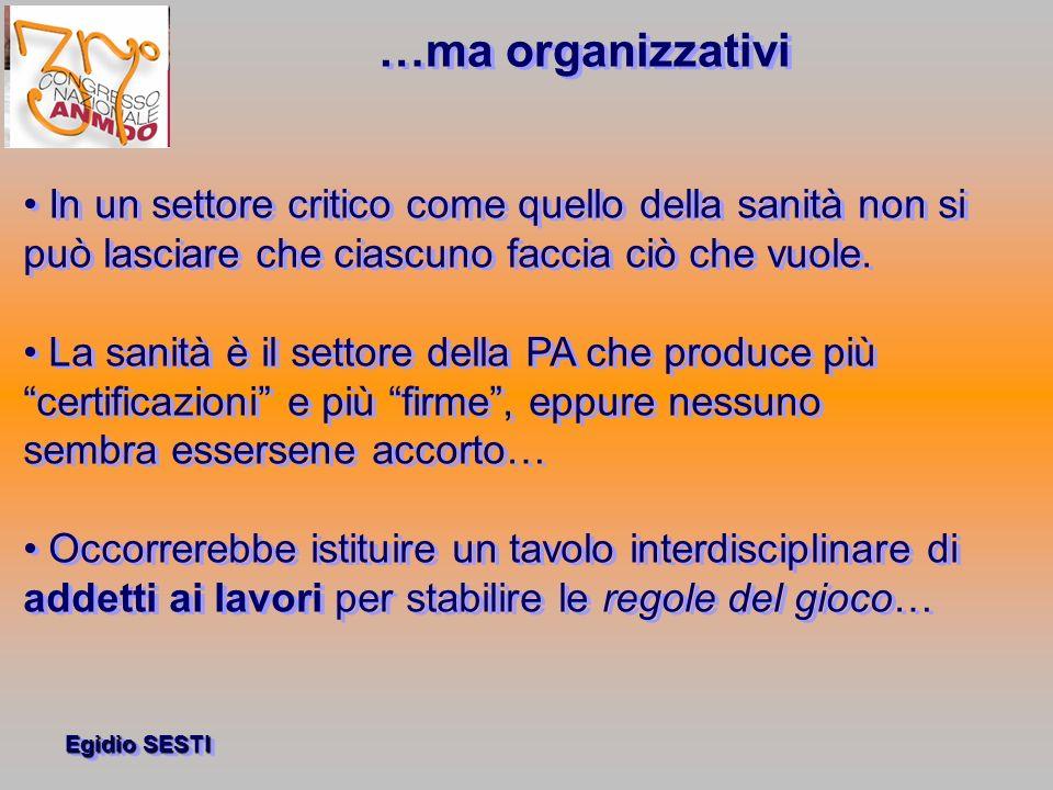 …ma organizzativi • In un settore critico come quello della sanità non si. può lasciare che ciascuno faccia ciò che vuole.