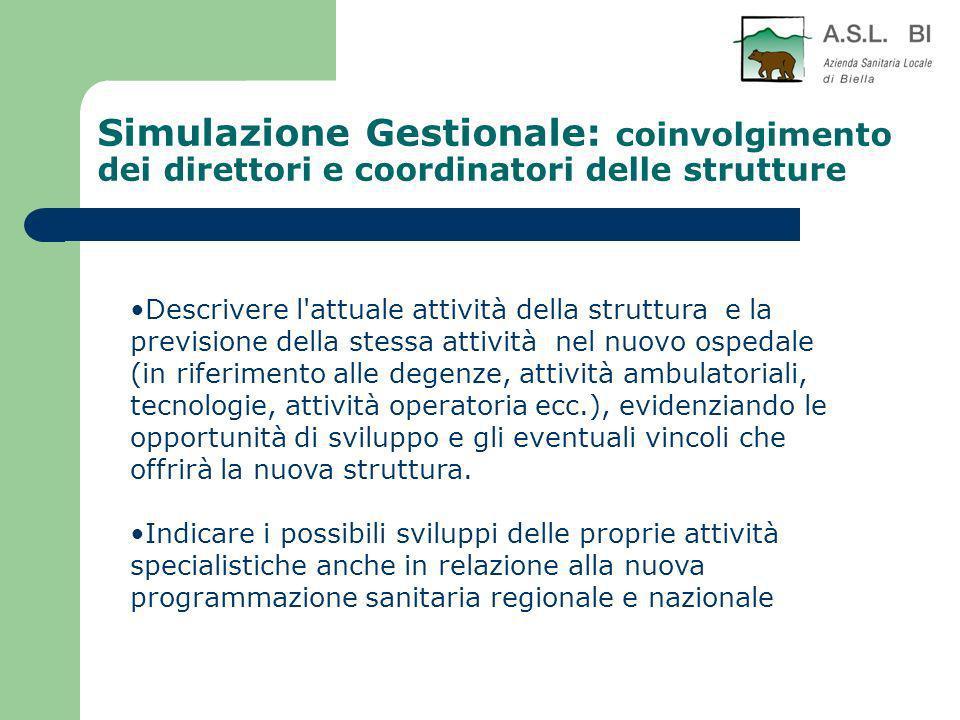 Simulazione Gestionale: coinvolgimento dei direttori e coordinatori delle strutture