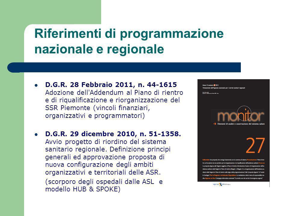 Riferimenti di programmazione nazionale e regionale