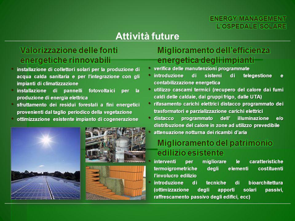 Attività future Valorizzazione delle fonti energetiche rinnovabili