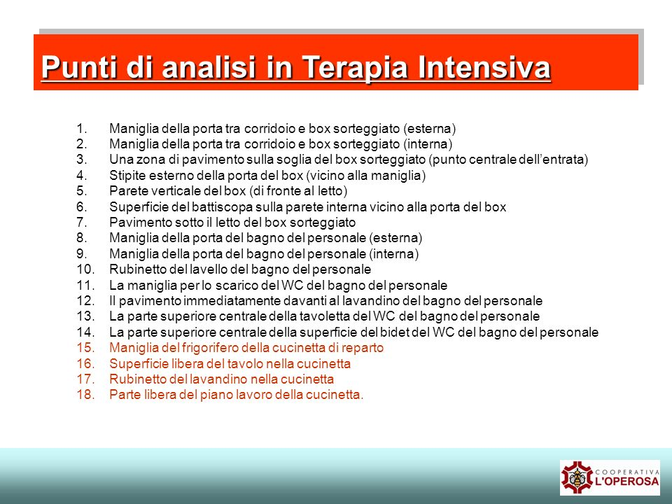 Punti di analisi in Terapia Intensiva