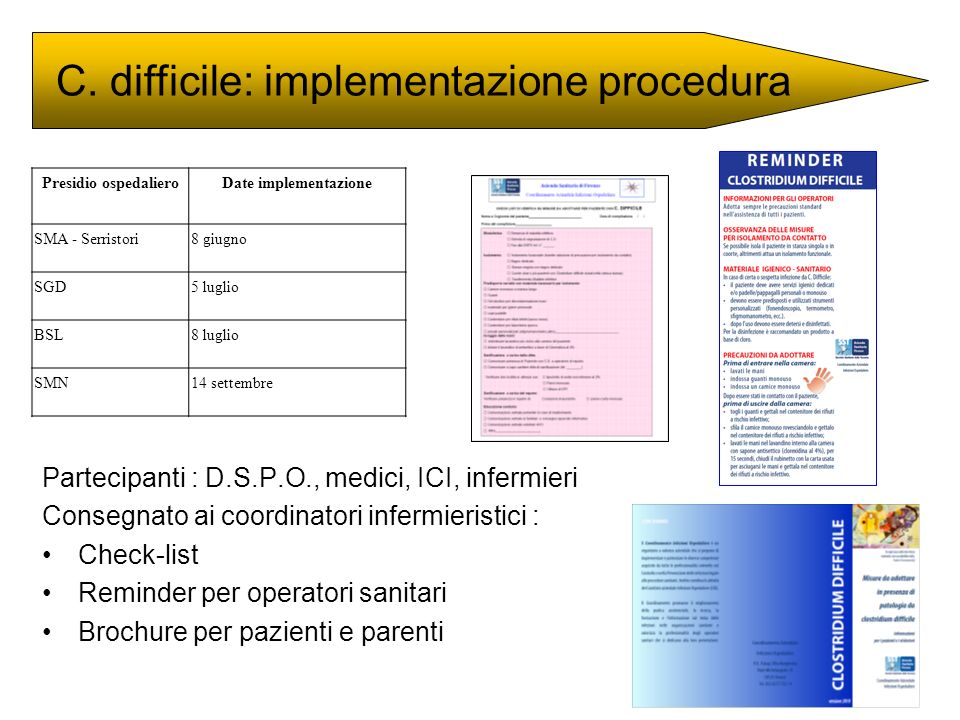 C. difficile: implementazione procedura