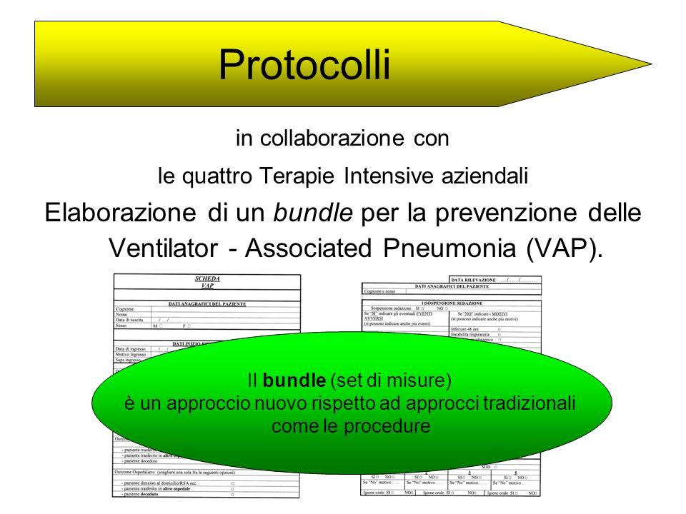 Protocolli in collaborazione con. le quattro Terapie Intensive aziendali.