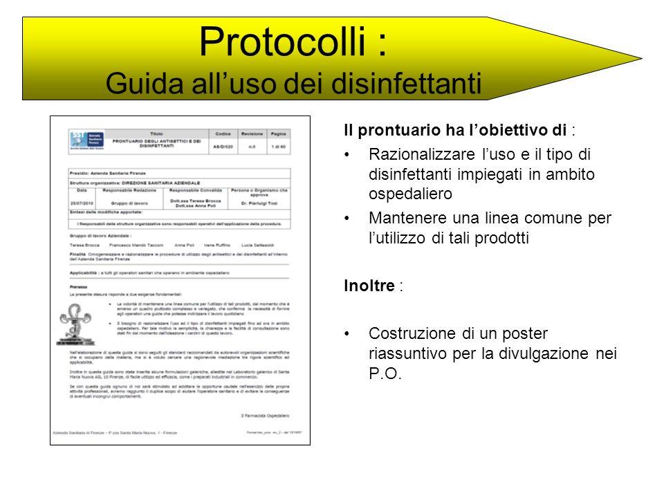 Protocolli : Guida all'uso dei disinfettanti