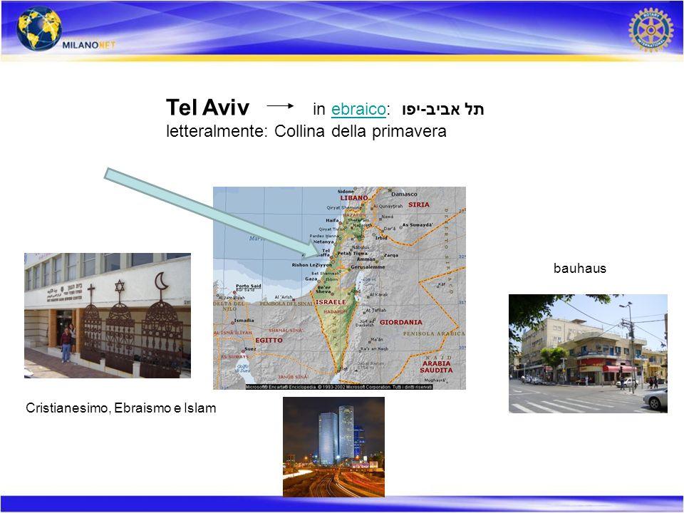 Tel Aviv in ebraico: תל אביב-יפו letteralmente: Collina della primavera