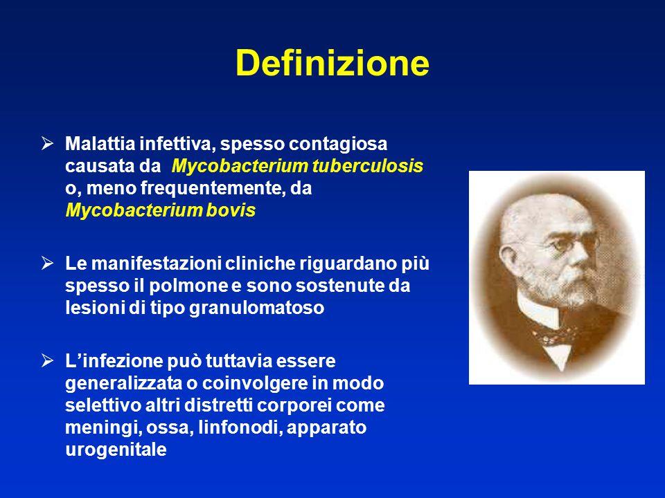 Definizione Malattia infettiva, spesso contagiosa causata da Mycobacterium tuberculosis o, meno frequentemente, da Mycobacterium bovis.