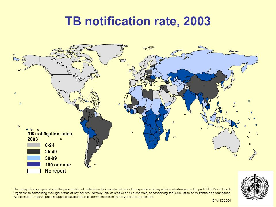 TB notification rate, 2003 TB notification rates, 2003 0-24 25-49