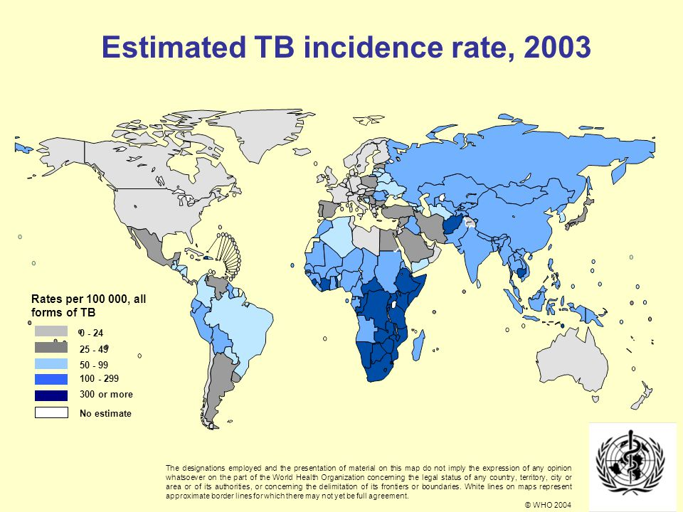 Estimated TB incidence rate, 2003