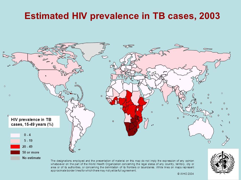 Estimated HIV prevalence in TB cases, 2003