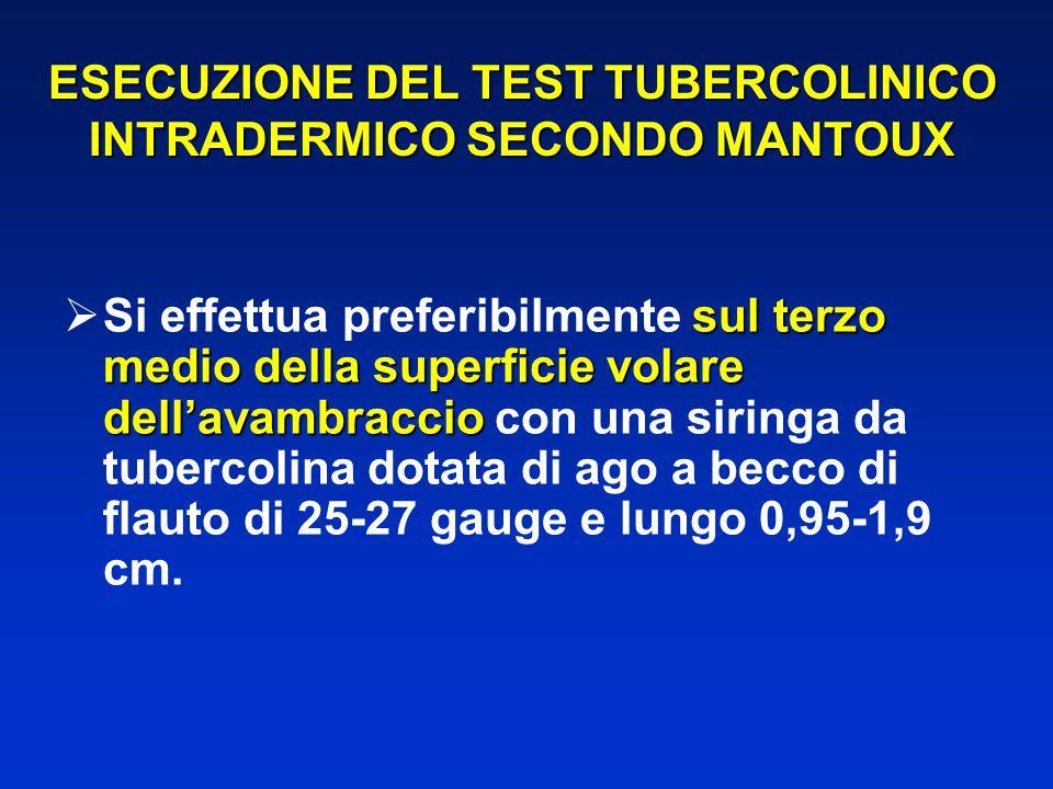 ESECUZIONE DEL TEST TUBERCOLINICO INTRADERMICO SECONDO MANTOUX